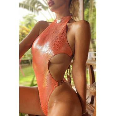 lovely Lace-up CrociOne-piece Swimsuit