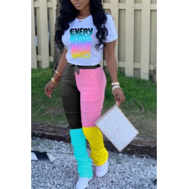 Lovely Trendy Letter Print Pink Two-piece Pants Set