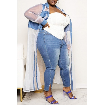 lovely Casual See-through Blue Plus Size Coat