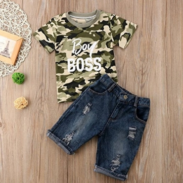 lovely Casual Camo Print Boy Two-piece Shorts Set
