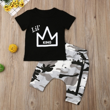 lovely Street O Neck Print Black Boy Two-piece Shorts Set