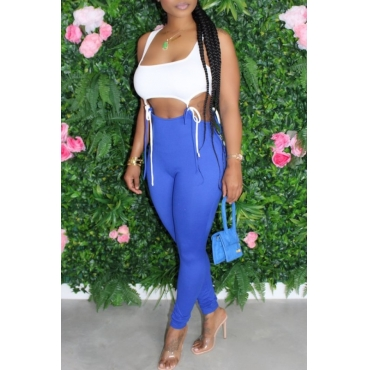 lovely Sexy Hollow-out Blue One-piece Jumpsuit