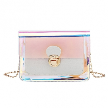 lovely Trendy See-through Pink Crossbody Bag