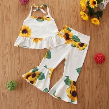 lovely Bohemian Floral Print White Girl Two-piece Pants Set