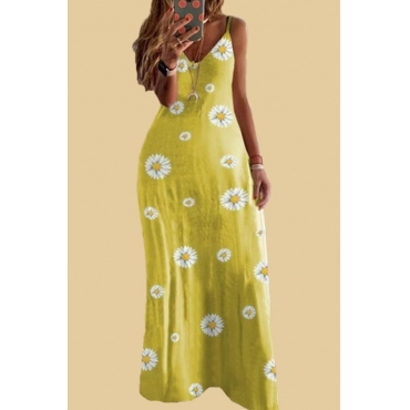 lovely Bohemian V Neck Floral Print Yellow Maxi Plus Size Dress