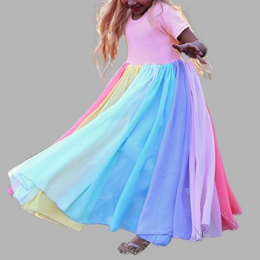 lovely Sweet Rainbow Striped Pink Girl Ankle Length Dress