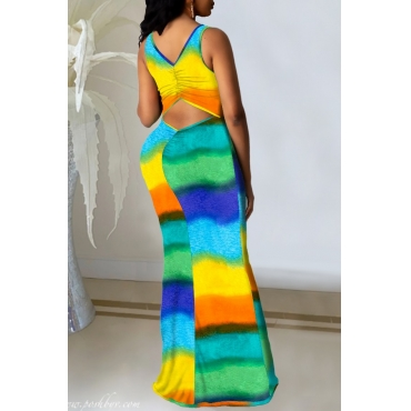 lovely Stylish Tie-dye Hollow-out Yellow Maxi Dress