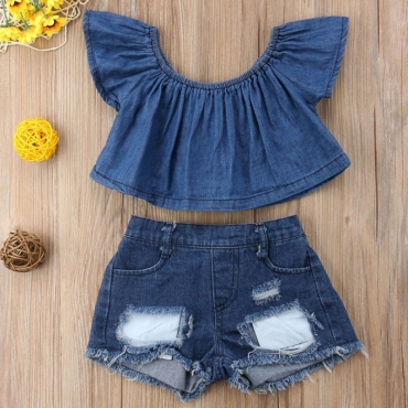 lovely Stylish Broken Holes Blue Girl Two-piece Shorts Set