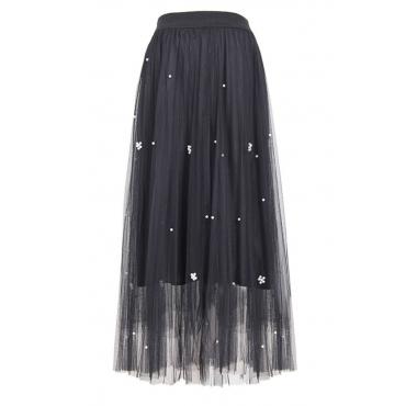 lovely Sweet Nail Bead Design Black Skirt