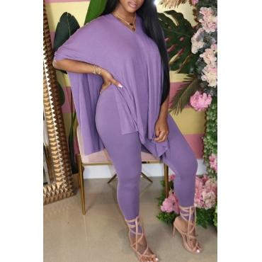 Lovely Casual V Neck Side Slit Purple Two-piece Pants Set