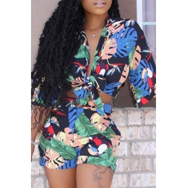 lovely Stylish Plants Print Multicolor Two-piece Shorts Set
