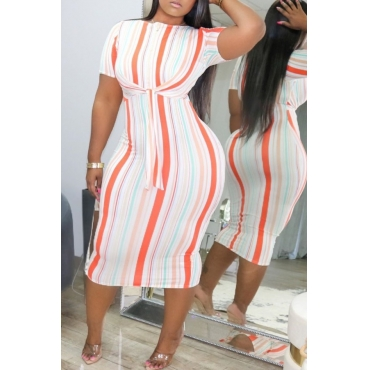 lovely Casual O Neck Striped Knee Length Plus Size Dress