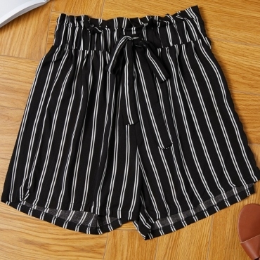 lovely Casual Striped Black Shorts