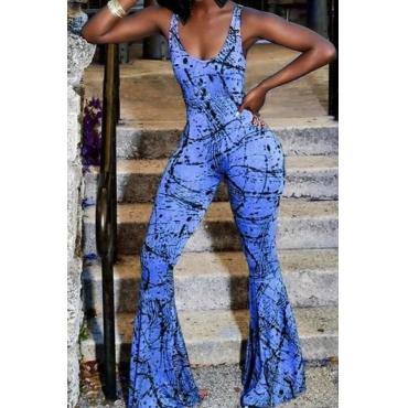 lovely Trendy Print Blue One-piece Jumpsuit