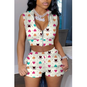 lovely Street Print Zipper Design White Two-piece Shorts Set