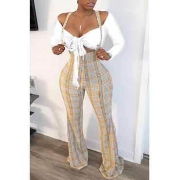lovely Trendy Grid Print Yellow One-piece Jumpsuit