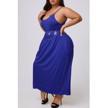 lovely Casual Basic Blue Mid Calf Plus Size Dress