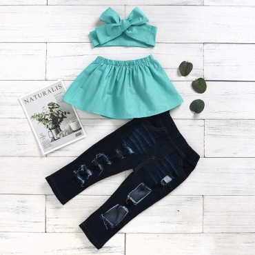 lovely Casual Hollow-out Green Girl Two-piece Pants Set