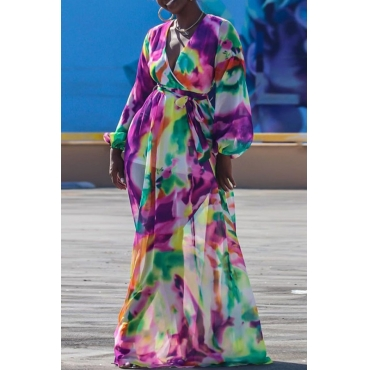 lovely Bohemian Deep V Neck Tie-dye Multicolor Maxi Dress