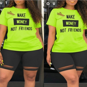 Lovely Casual Letter Print Hollow-out Green Plus Size Two-piece Shorts Set