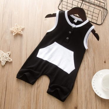 lovely Trendy Pocket Patched Black Boy One-piece Jumpsuit