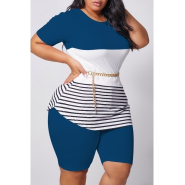lovely Casual Patchwork Blue Plus Size Two-piece Shorts Set