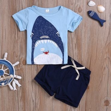 lovely Casual O Neck Print Baby Blue Boy Two-piece Shorts Set