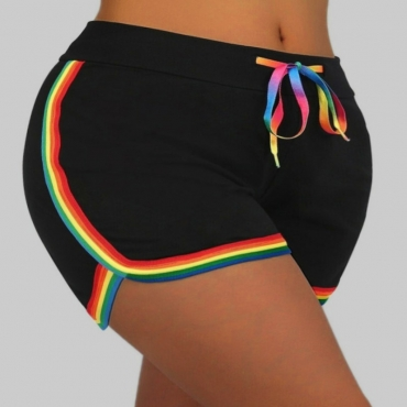 Lovely Sportswear Patchwork Black Plus Size Shorts