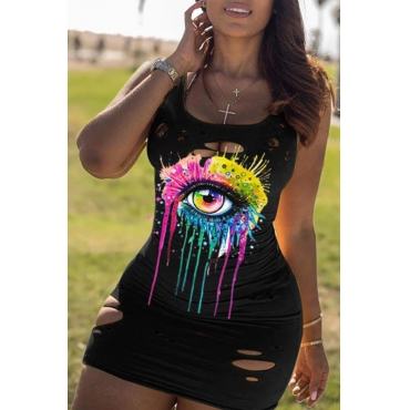 lovely Casual U Neck Eye Print Black Mini Dress