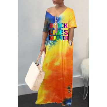 lovely Casual V Neck Tie-dye Orange Maxi Dress
