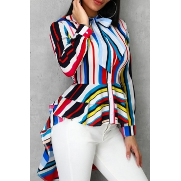 lovely Trendy Striped Asymmetrical Multicolor Blouse