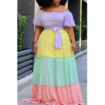 lovely Bohemian Color-lump Patchwork Multicolor Maxi Plus Size Dress