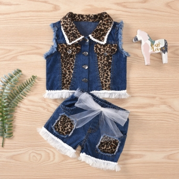 lovely Street Patchwork Blue Girl Two-piece Shorts Set