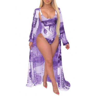 Lovely Print Purple Plus Size One-piece Swimsuit(With Cover-up)