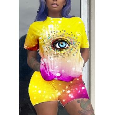 lovely Street Eye Print Yellow Two-piece Shorts Set