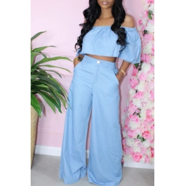lovely Casual Dew Shoulder Loose Baby Blue Two-piece Pants Set