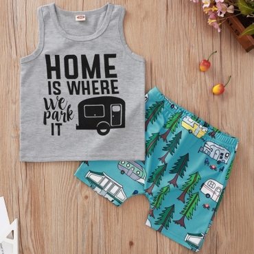 lovely Casual Letter Print Grey Boy Two-piece Shorts Set