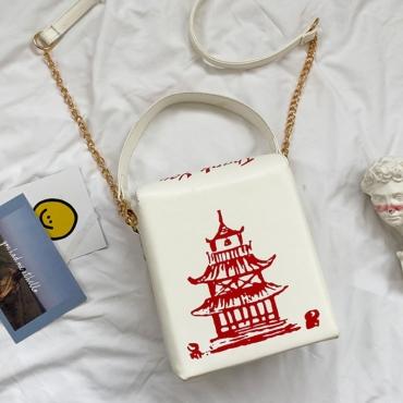 lovely Chic Chain Strap White Crossbody Bag