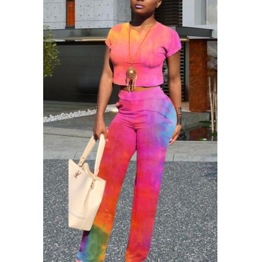 lovely Trendy Tie-dye Pink Two-piece Pants Set