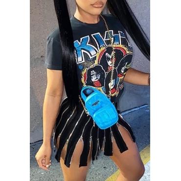 Lovely Casual O Neck Print Zipper tassel design Mini Dress