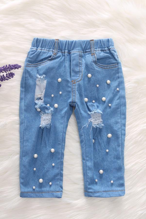 lovely Trendy Broken Holes Baby Blue Girl Jeans