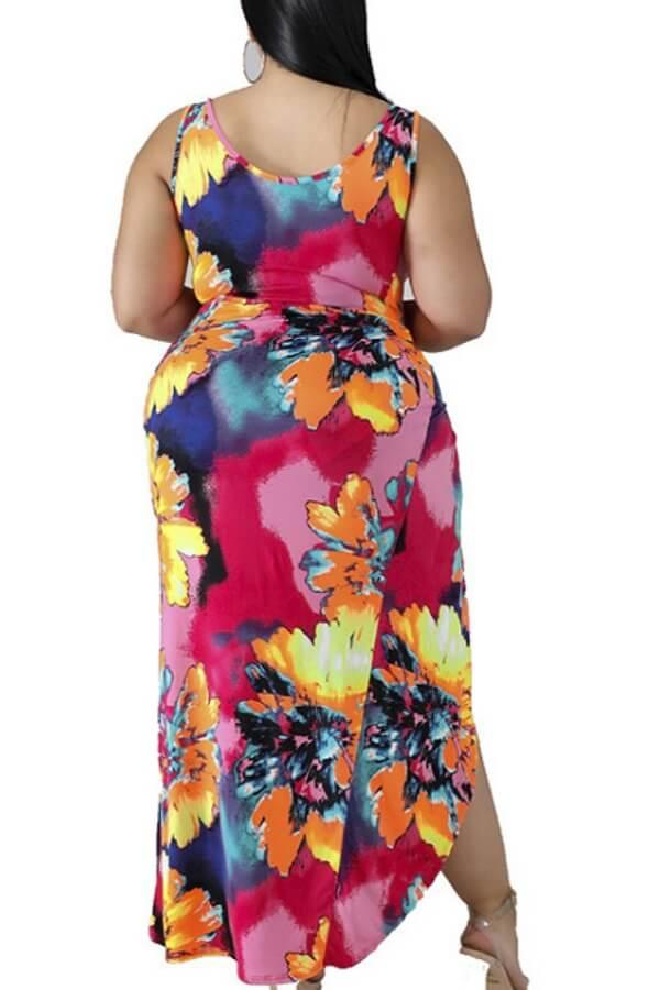 Lovely Cut-Out Print Multicolor Plus Size One-piece Swimsuit