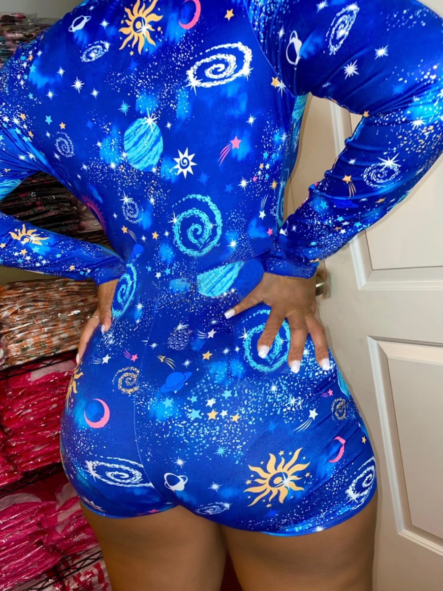 Lovely Plus Size Leisure Starry Sky Print Deep Blue One-piece Romper