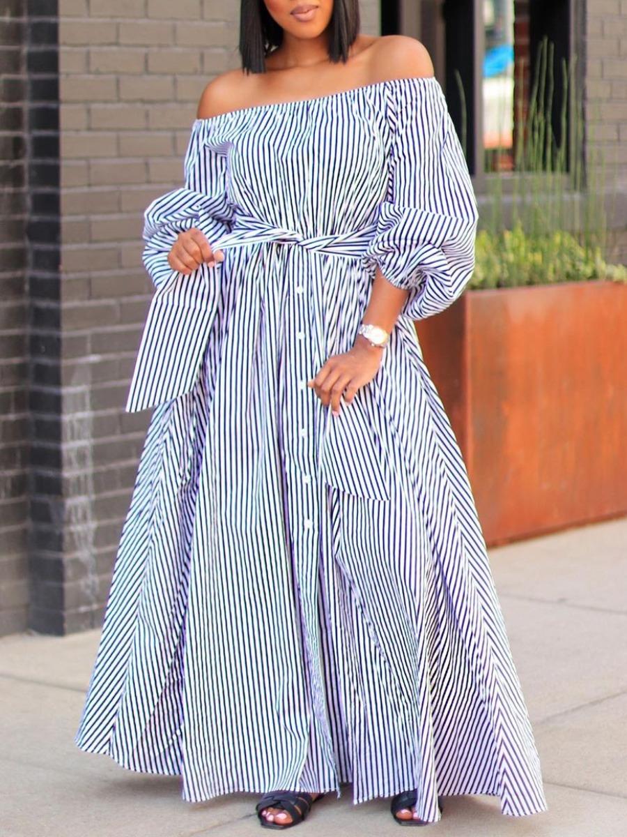 LW Casual Dew Shoulder Pinstripe Blue Ankle Length Dress