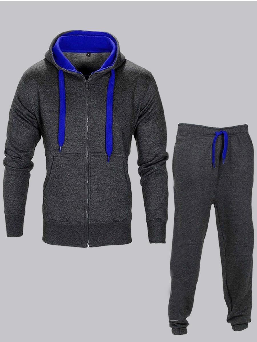 Men lovely Sportswear Hooded Collar Zipper Designe Dark Grey Two-piece Pants Set фото