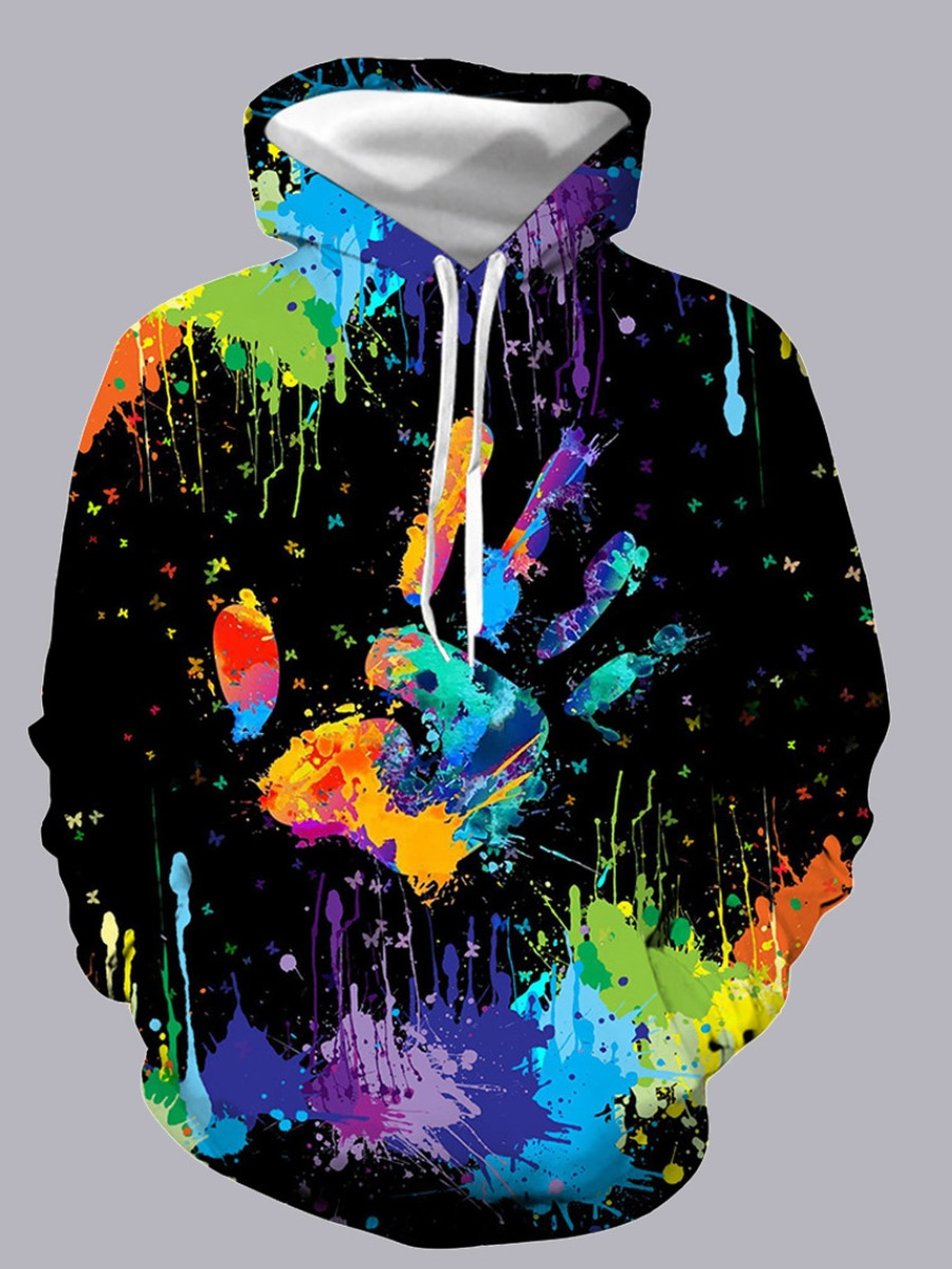 Hoodies Men Lovely Sportswear Hooded Collar Tie-dye Black Hoodie фото