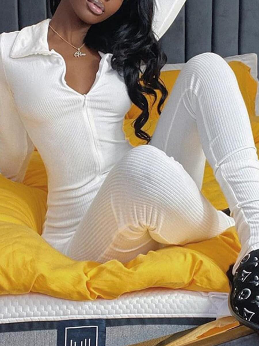 LW BASICS Rib-Knit Zipper Design Jumpsuit