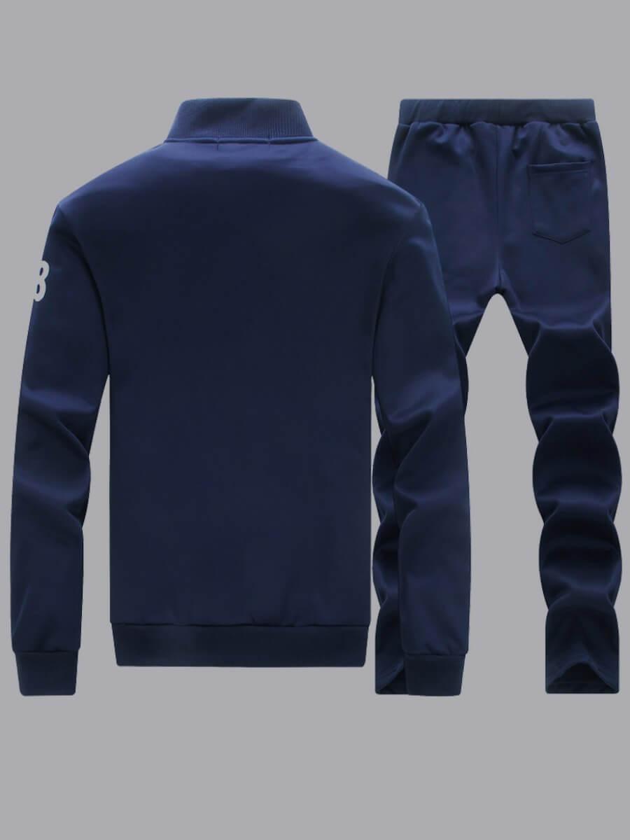 Lovely Men Sportswear Patchwork Deep Blue Two-piec