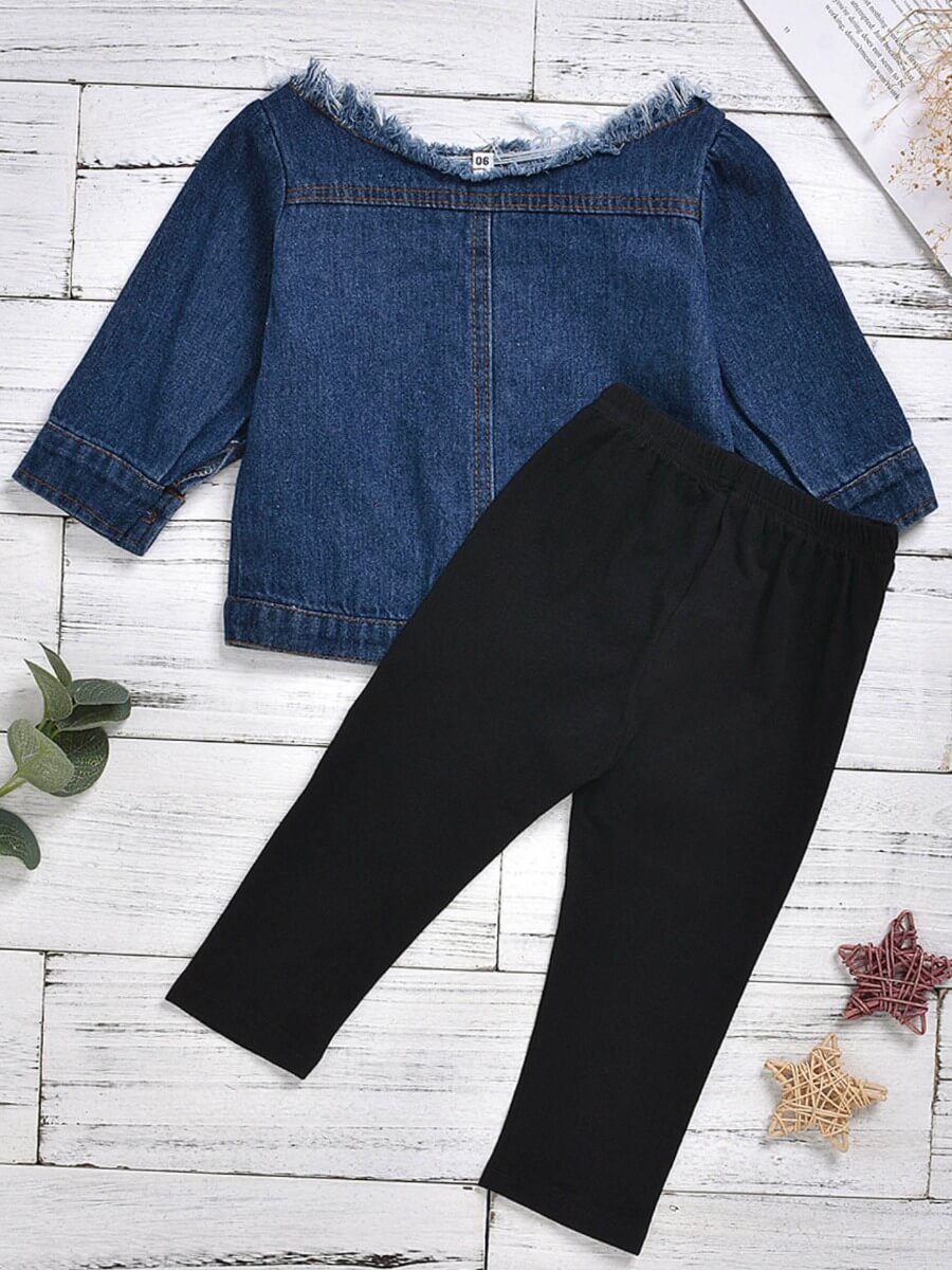 Lovely Street Buttons Design Blue Girl Two-piece P