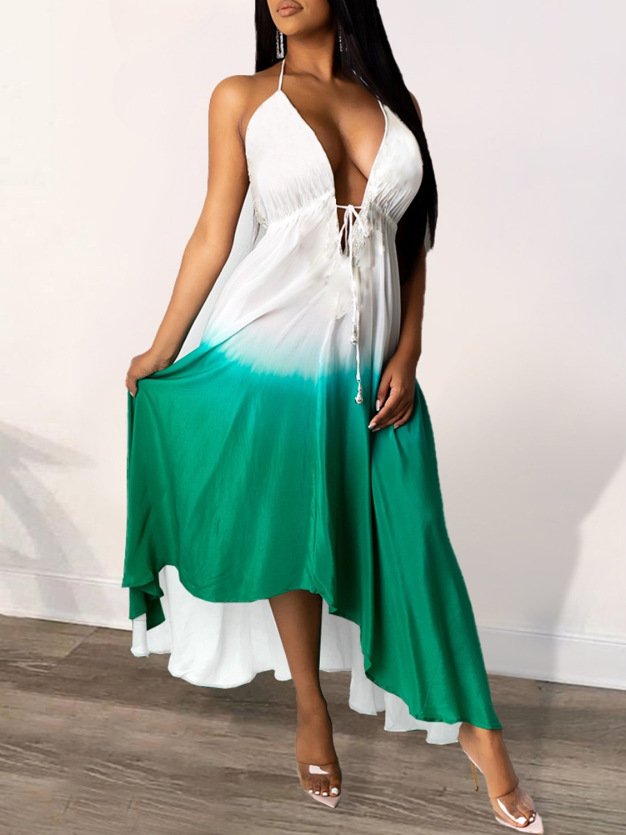 Lovely Bohemian Gradient Asymmetrical Green Maxi Dress фото